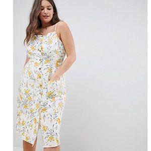 ASOS Curve Linen Cotton Floral Sundress Size 16